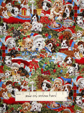 Christmas Puppy Dogs Puppies Presents Holiday Robert Kaufman Cotton Fabric YARD
