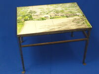 VINTAGE SIGNED HAND PAINTED TILE TOP IRON TABLE
