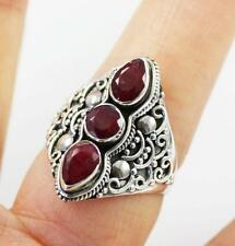 Unusual Solid 925 Sterling Silver, Genuine Red Ruby Ring jewellery, R1/2 , 9