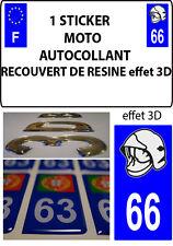 1 sticker plaque immatriculation MOTO DOMING 3D RESINE CASQUE DE POMPIER DEPA 66