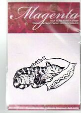New CLING MAGENTA Rubber Stamp kitty cat Napping on pillow Free USA ship
