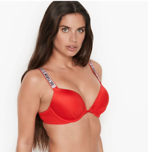 VICTORIAS SECRET Shine Strap Bombshell Add-2-cups Push-up Bikini Swim Top 36B