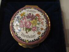 "Halcyon Days Enamel Box ""Happy Birthday"" Trinket Box In The Box"