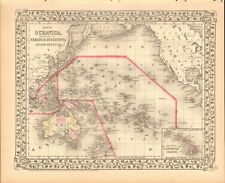 1874 ANTIQUE MAP - OCEANICA, OCEANIA, HAWAII, POLYNESIA, AUSTRALIA, NEW ZEALAND