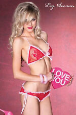 Sexy Red Lingerie Set Pink Frills Lace Triangle Bra Knickers Ruched Leg Avenue