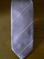 New: Drake's Steel Pink Mini Check & Cream Diagonal Stripe Silk Tie (Boxed)