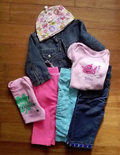 Lot of 7 pc Baby Girl clothes Gap Carters pants jacket jeans size 12 months