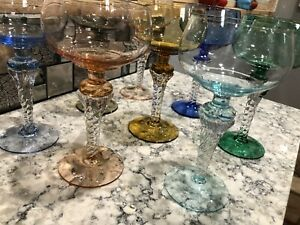 Vintage Multi Colored Clear Twisted Stem Cordial Liquor Wine Glasses Set of 8