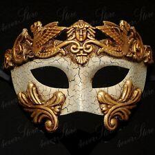Men Egyptian Greek Venetian Masquerade Mask - Roman Warrior Venetian - Gold