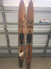 "Vintage Ski Craft Combo Olympic 0.4C Wood Water Skies Adult 69 1/2"" Long"