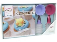 Get Baking Cupcakes Recipe Book Decorating bottles 6 silicone Cases Gift Set -UK