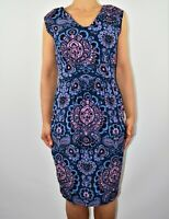 New £50 Closet Floral Aline Dress Blue Purple Casual Cruise Holiday Size 12 AV