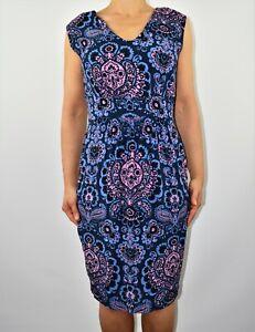 New £50 Closet Floral Aline Dress Blue Purple Summer Spring Holiday Size 12 AV