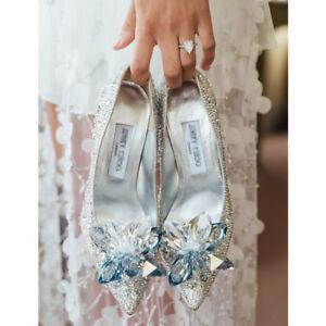 Cinderella Rhinestone Glass Slipper Fit Wedding Dress High Heels Prom Shoes 2020