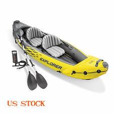 Intex 2-Person Explorer K2 Kayak Inflatable Kayak Set & Oars & Air Pump Yellow