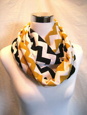 Black and Gold Chevron jersey knit youth teen adult team colors Infinity Scarf