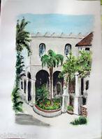✅Acquerello '900 su carta Watercolor- Casa araba con cortile -(158)