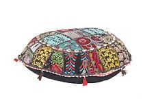 Handmade Cotton Ottoman Round Ombre Pouf Stool Seat Cover