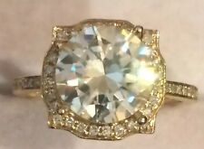 VS2 2.40CT  Moissanite Ring &Natural Diamond Accents Yellow Gold