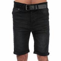 Mens Crosshatch Black Label Yankton Denim Belted Shorts In Black