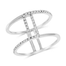 Negative Space Right Hand Ring Wide 14K White Gold Pave Diamond