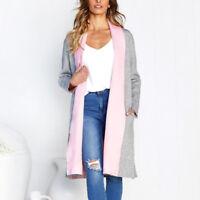 Womens Long Sleeve Cardigan Open Front Sweater Coat Autumn Jumper Outwear Tops