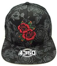 ROSE Flower Snapback Ball Cap Hat Embroidered Flat Bill Black NWT
