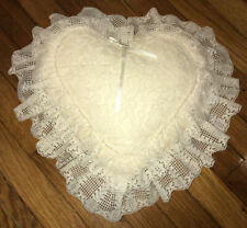 Reversible LACE HEART SHAPED PILLOW Antique White Weddings Deco Photography