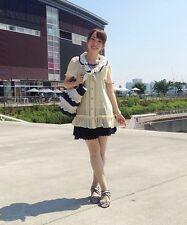1143.BNWT!axes femme Japanese brand lemon-yellow sheer sailor summer blouse