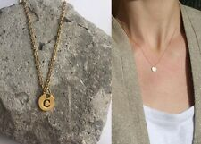 "Delicate Gold Round Disc "" C "" Letter Initial Pendant Necklace 18""L chain Urban"
