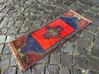 Vintage rug, Carpet, Turkish  natural dyed rug, %100 wool rug | 1,0 x 2,7 ft