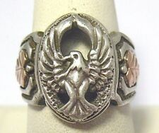 STERLING SILVER 10K GOLD ROSE & YELLOW THUNDERBIRD RING vintage SIZE 9.75 9.9 GM