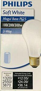 Philips100/200/300-Watt 3-way Mogul Base Light Bulb 1320/2550/3870 Lumens - PS25