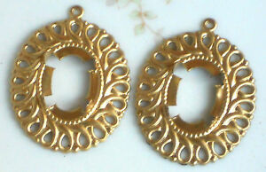 #1407 Vintage Filigree Settings Victorian Brass Prong 17x13 Component Connector