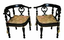 Pair of Vintage Unique Hollywood Regency Style Painted Corner Chairs