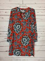 LOFT Women's S Small Orange Blue Floral Long Sleeve Spring Dress NEW With TAGS