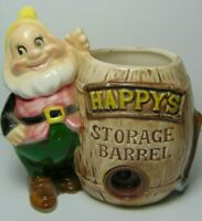 1950s Old Vintage Walt Disney Snow White Happy Dwarf Pencil Crayon Holder AS IS