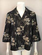NWT Tommy Bahama Black Beige Floral Silk Blend Jacket Size S