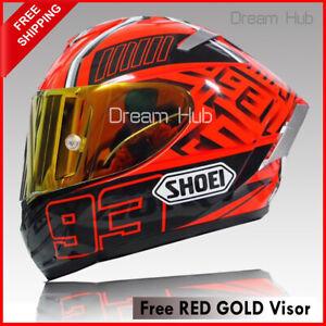 SHOEI X14 Full Face Motorcycle Helmet Large Spirit 3 Ducati Red V4 Marc 93 +GOLD