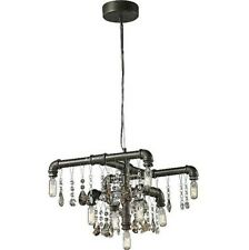 Lussole Retro Industrial Chandelier / Crystal
