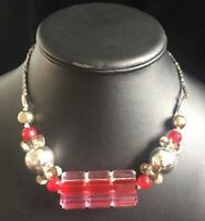Vintage Pink & Red & Clear Necklace Retro 1960s Silver Tone