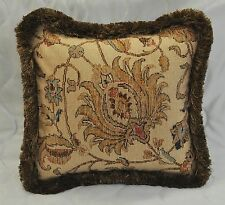 "Pillow made w/ Ralph Lauren Northern Cape Rug Floral Tapestry Fabric 16"" fringe"