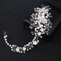 Headband Head Piece Tiaras Pearl Crystal Bride Hairband Acrylic Flower