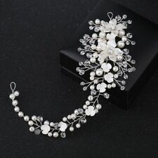Headband Head Piece Tiaras Pearl Crystal Bride Hairband Acrylic Flower