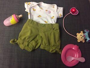 Baby Born Kleidung leuchtender Sound Schnuller Teller Flasche Body Shorts Zapf
