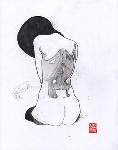 Sketch of A Figure's Back V - 11x14in Graphite  - Nude Figure Leo Charre