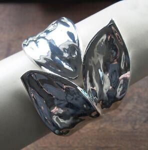Lagenlook Leafwrap Silver Metal Statement Bracelet