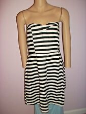 HAE Strapless Black and White Striped Pleated Dress Size Large-55% Linen
