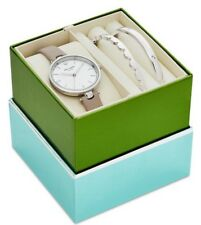 NWT Kate Spade Holland Gray Leather Strap 34mm Watch And Bangle