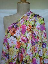 Yellow pink roses print slippy satin finish jersey knit fabric 2.4 m x 146 cm